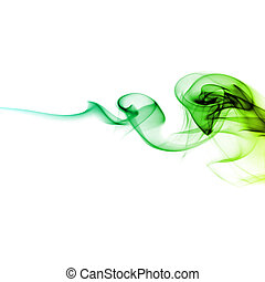 green smoke - Abstract bright green smoke on a white...
