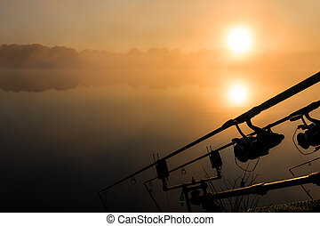 Carp fishing rods misty lake France - Carp fishing on a...