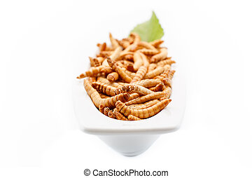 Healthy mealworms close up with decoration - Mealworms close...