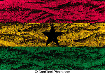 Ghana national flag painted wooden bark tree - Ghana,...