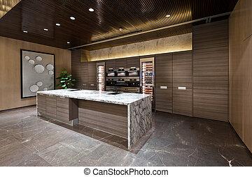 cocina, área, con, Mármol, piso,