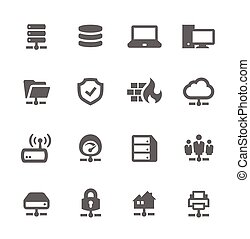 Network and Servers Icons - Simple Set of Network and...