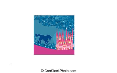 abstract image of a pink castle and unicorn