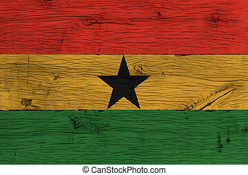 Ghana national flag painted old oak wood - Ghana, Ghanese...