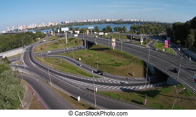 Road junction, Kiev. Ukraine - Two-level road junction on...