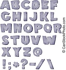 Cartoon Stone Alphabet - Illustration of a set of comic ABC...