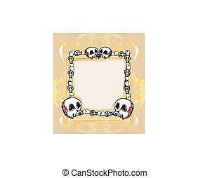 Grunge Frame with skull in vintage style