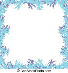 Christmas background. Frosty patterns. Frame with white.