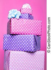 scatole, colorito, regalo