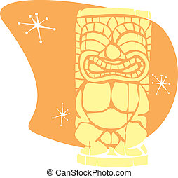 Retro Tiki 1 - Space Age era retro styled cocktail tiki head...