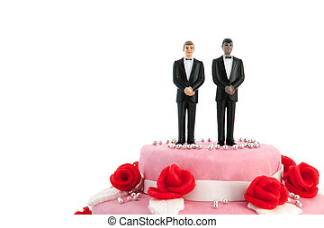 Wedding cake with gay couple - Pink wedding cake with red...