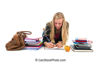 Teen girl making homework for school - Teen girl laying at...