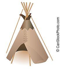 Indian wigwam - Traditional Indian tepee on a white...