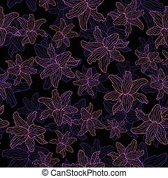 Floral seamless vector pattern lily on a black background.