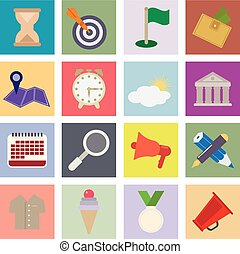 Set flat icons 16 vector icons for your design
