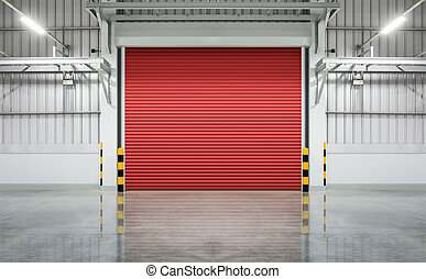 Shutter door or rolling door red color, night scene