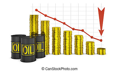 barrels and graph - barrels of oil and a stack of coins on...