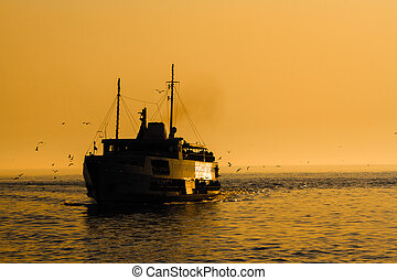 Ferry Silhouette at Sunset