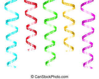 Colorful hanging party ribbon isolated on a white background