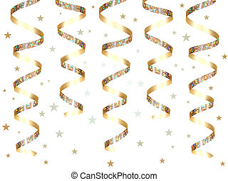 Hanging gold party ribbon with confetti isolated on a white...