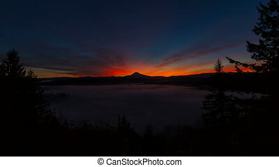 Time Lapse of Sunrise with Mt Hood - Time Lapse Movie of...