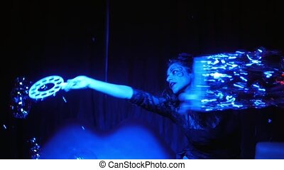 female performer in soap bubbles ma - beautiful woman using...