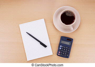 note pad calculator and coffee - note pad with pen,...