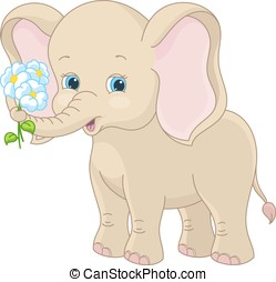 Cute baby elephant - Baby elephant holding a bouquet of...