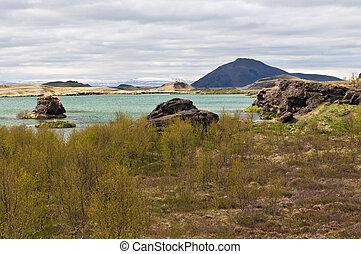 Lake Myvatn. Iceland - The volcanic landscape with lake...