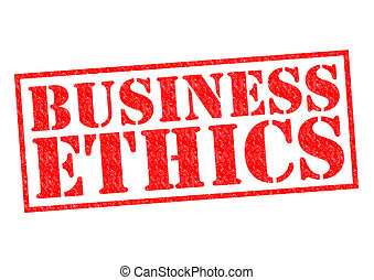 BUSINESS ETHICS red Rubber Stamp over a white background.