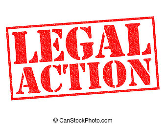 LEGAL ACTION red Rubber Stamp over a white background.