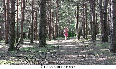 running girl in park