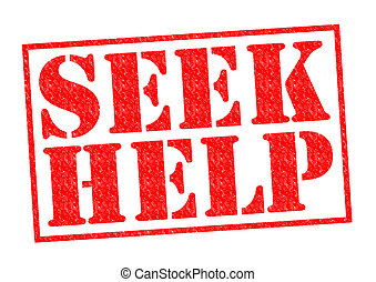 SEEK HELP red Rubber Stamp over a white background.