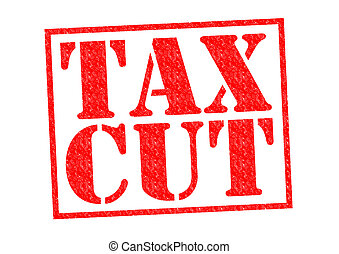 TAX CUT red Rubber Stamp over a white background.