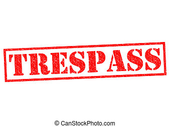 TRESPASS red Rubber Stamp over a white background.