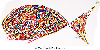 fish - A colorful fish from crayons