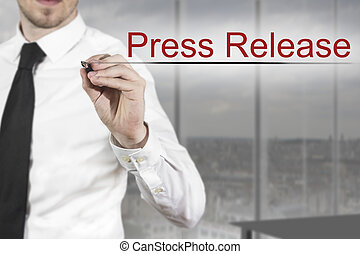 businessman writing press release in the air - businessman...
