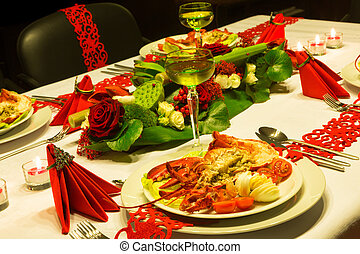 Red ribbons on festive table