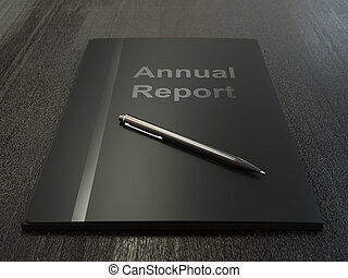 Annual Report - Black annual report folder and pen on dark...
