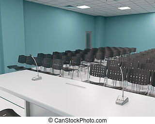 Empty conference room, speaker's point of view