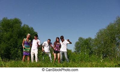 walking friends on grass