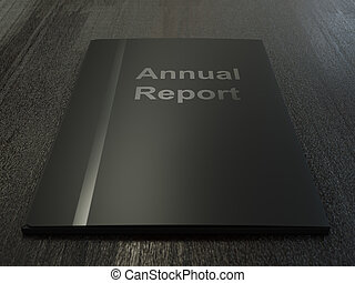Annual Report - Black annual report folder on dark wood...