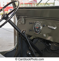 Dashboard of an old jeep - Interior dashboard of an old army...