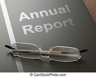 Annual Report - Black annual report folder and glasses on...