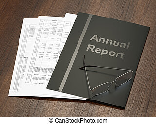 Annual Report - Black annual report folder with papers an...