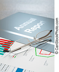 Annual Report - Black annual report folder with graphs and...