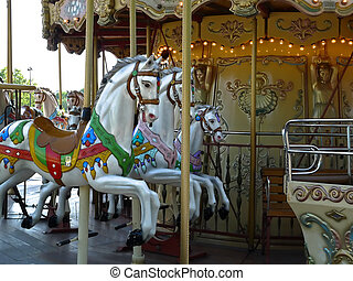 Paris with an old Merry go round near the Tuileries garden