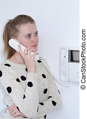 girl with intercom - girl holding the handset to your ear...