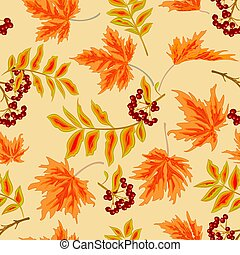 Seamless texture rowanberry and maple leaves autumn...