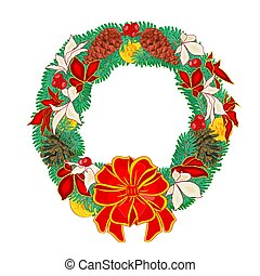 Christmas Wreath with pine cones and poinsettia and...